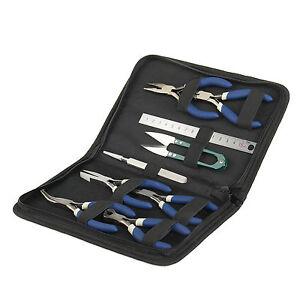 9Pcs Mini Pliers Tools Kit Set Jewellery Making Beading DIY Flat Long Round Nose