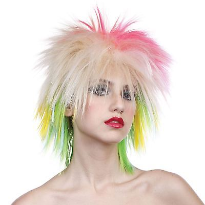Ladies 80's Bright Colour Hair Rocker Punk Spikey Wig Blonde Ladies Mens Rave BN