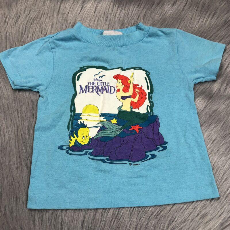 Vintage 90s Toddler Girls Disney Blue Little Mermaid T Shirt