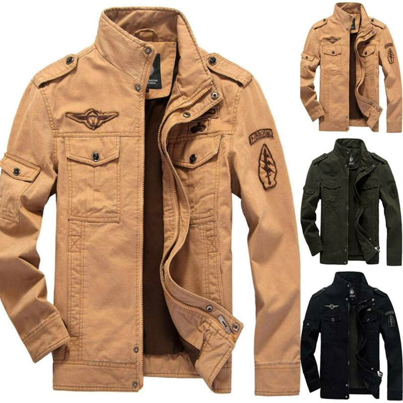 Mens Combat Field Military Army Jacket Coat Winter Casual Ca