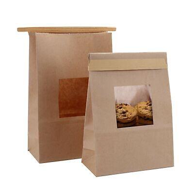 Yopay 100 Pack Bakery Bags With Window Tin Tie Tab Lock Kraft Paper Bags 5....
