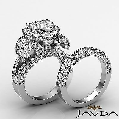 Halo Pave Split Shank Heart Diamond Engagement Bridal Set Ring GIA H SI1 4.9 Ct
