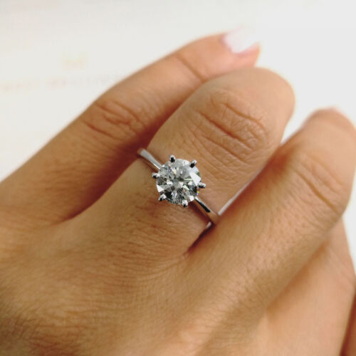 1.01 Carat Round shape I - SI2 Solitaire Diamond GIA Engagement Ring sizeable