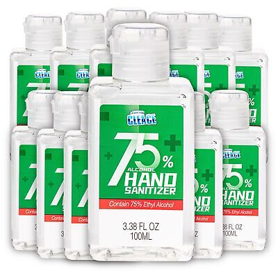 Cleace Advanced 75% Alcohol Hand Sanitizer Gel, 12 small bottles, 3.38 oz each