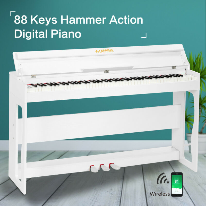 Weighted Hammer Piano 88 Kyes LCD Digital Electric Keyboard with 3 Pedal White