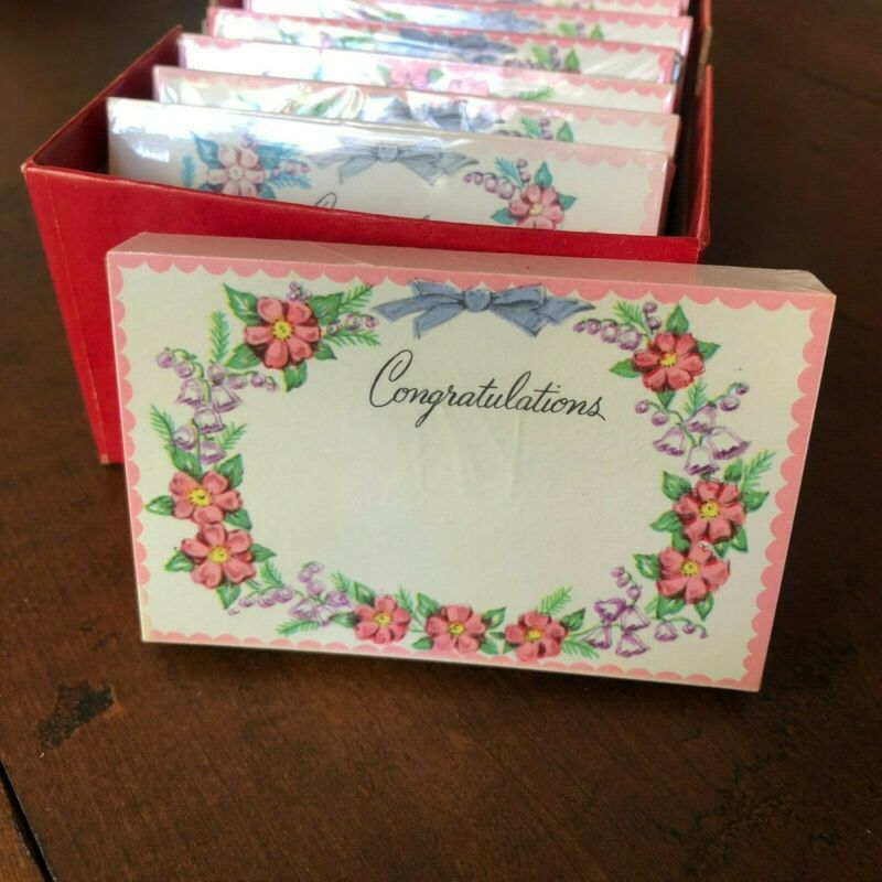 Vintage Unused FLORIST CARDS ~ One Pack of 50 ~ WEDDING, CONGRATULATIONS, SHOWER