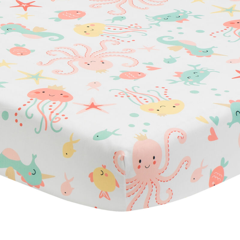 Bedtime Originals Ocean Mist Ocean Sea Animals Fitted Crib Sheet - White