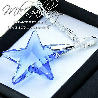 925 Sterling Silver Necklace *LIGHT SAPPHIRE* 28mm STAR Crystals from Swarovski®