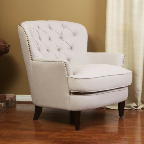 Alfred Contemporary Deep Button Tufted Fabric Club Chair with Nailhead Accents Chairs
