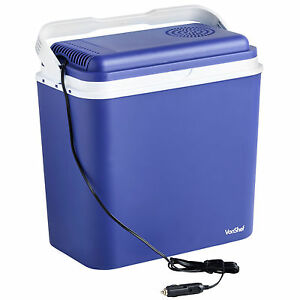 VonShef Electric Cool Box Large Cooler 22L Camping 12V Car Adaptor Food Drinks