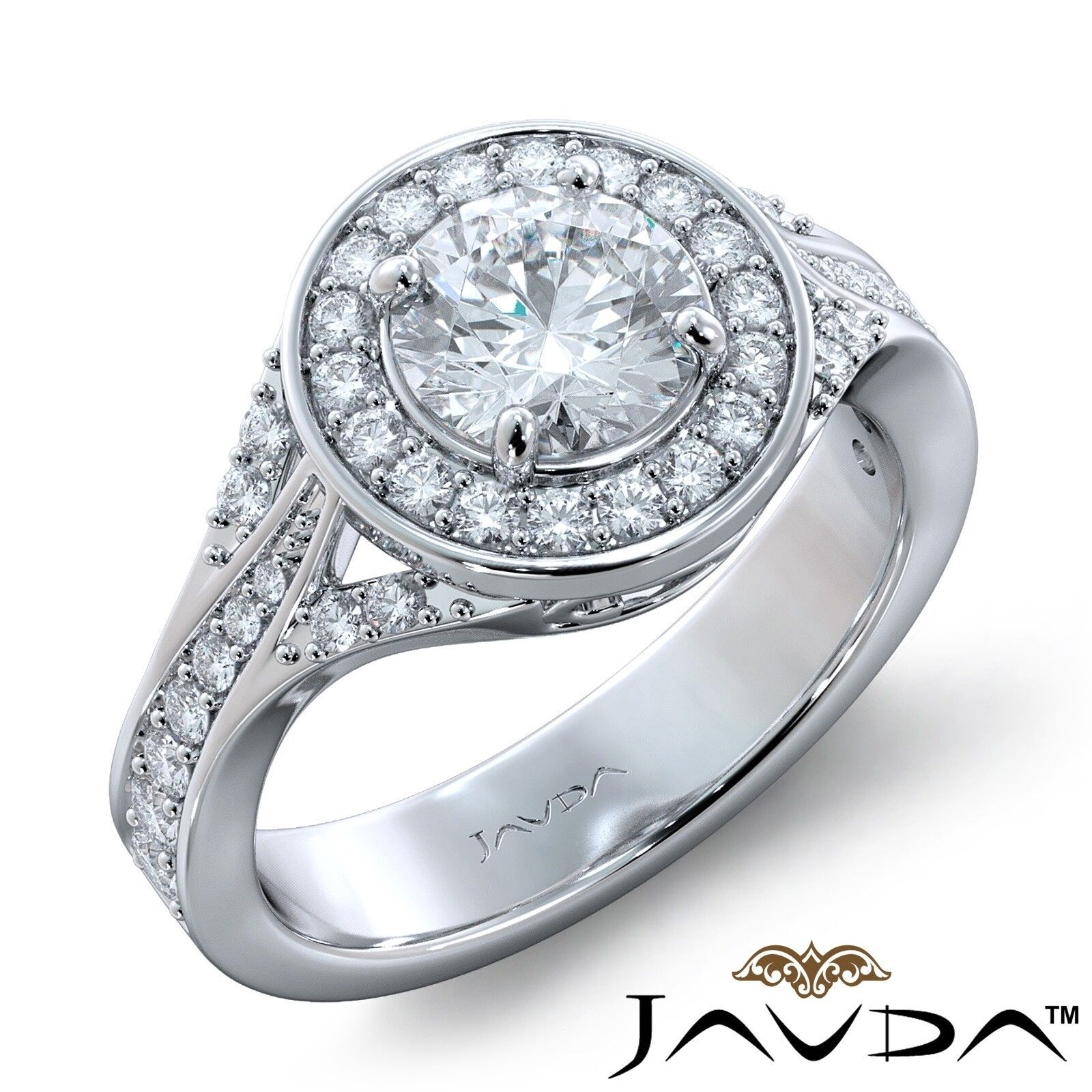 3.45ctw Halo Sidestone Pave Round Diamond Engagement Ring GIA I-SI1 White Gold