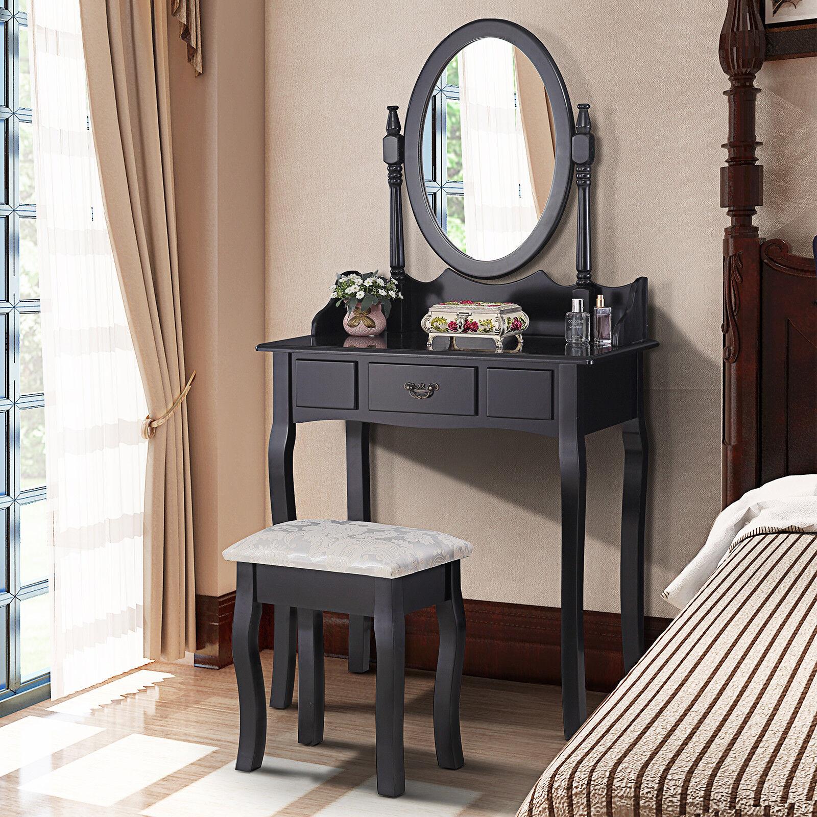 Details about Black Dressing Table Makeup Desk w/ Stool,Round Mirror,Drawer  Bedroom Furniture