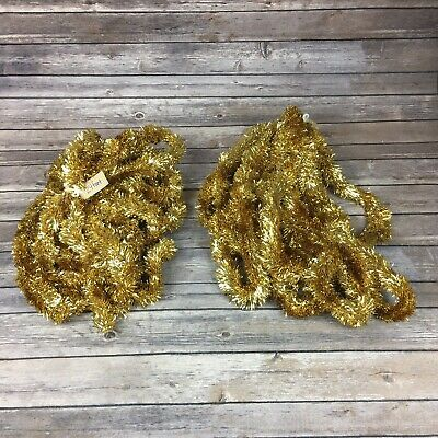 Lot of 2 24' Strands Gold Tinsel Garland Extra Thick Holiday Christmas Decor EUC ()