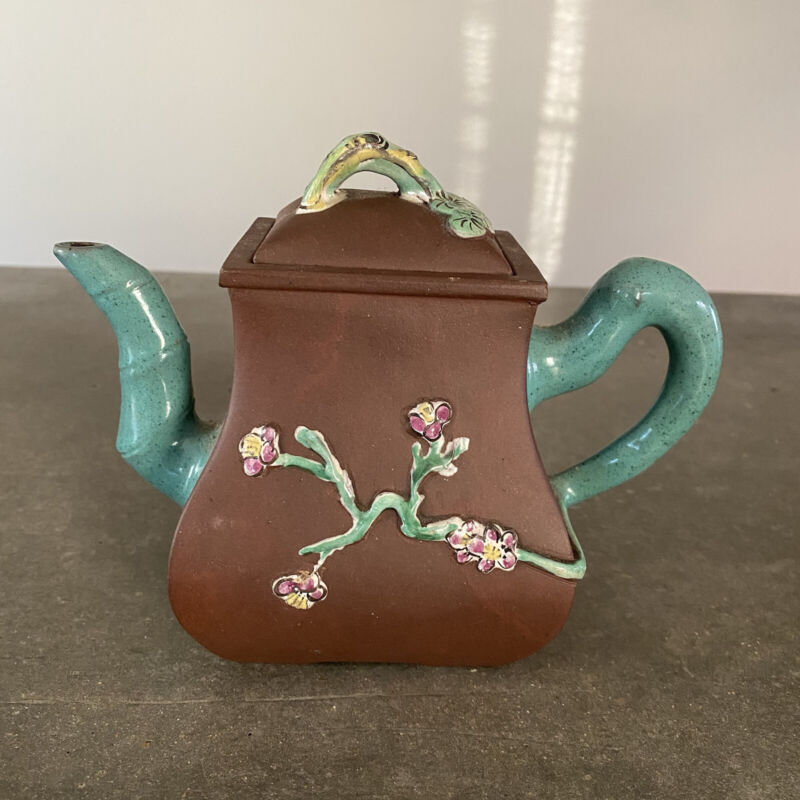 Vintage Chinese Yixing Clay Teapot Teal Enameled Bamboo Spout Handle Floral