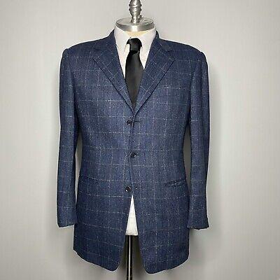 Pal Zileri Italy Blazer - Blue Check Cashmere Silk Sport Coat Mens - 42L (52 it)