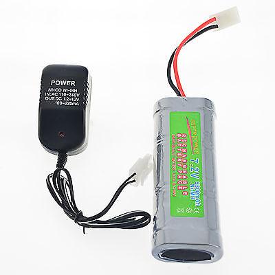1 pcs 7.2V 5300mAh Ni-Mh rechargeable battery pack RC Tamiya Plug + Charger USA