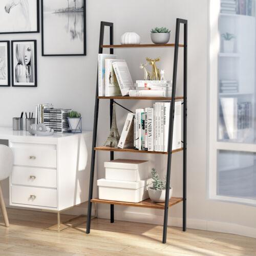 4-Tier Bookcase Bookshelf Leaning Wall Shelf Ladder Storage
