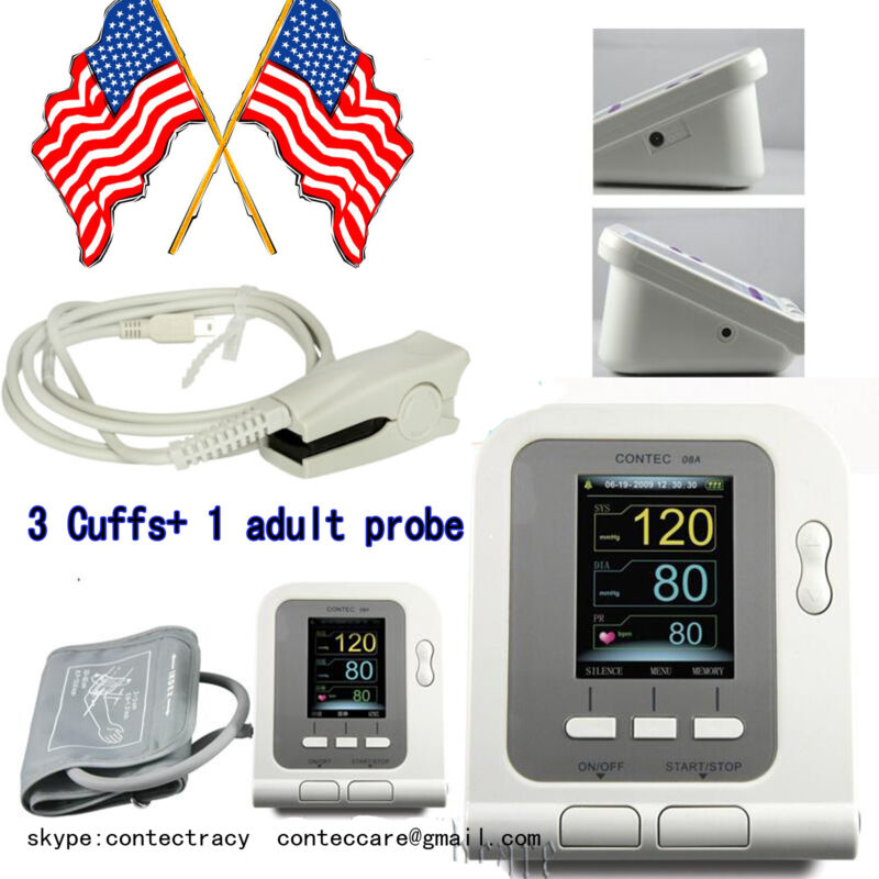 Portable sphygmomanometer BP meter Arm Blood Pressure Monitor,Spo2 probe,US sale