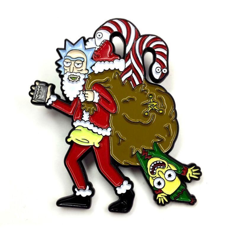 Rick and Morty Santa Christmas Enamel Pin Festival Hat and Lapel Heady