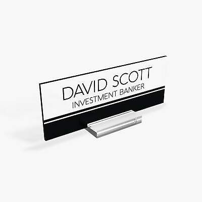 Executive Personalised Desk Name Plate Custom Sign Office Plaque Black Strips