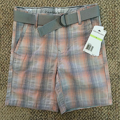 Belted Plaid Jeans (Calvin Klein Jeans Boys Size 4 Gray Peach Plaid Belted Shorts Adjustable Waist)