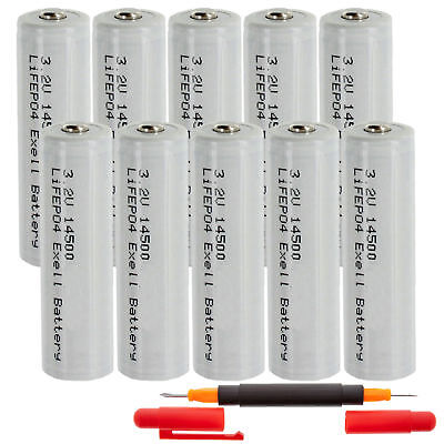 (10-PACK) 3.2V 500mAh LiFePO4 Size AA 14500 (14 x 50mm) Rechargeable Batteries