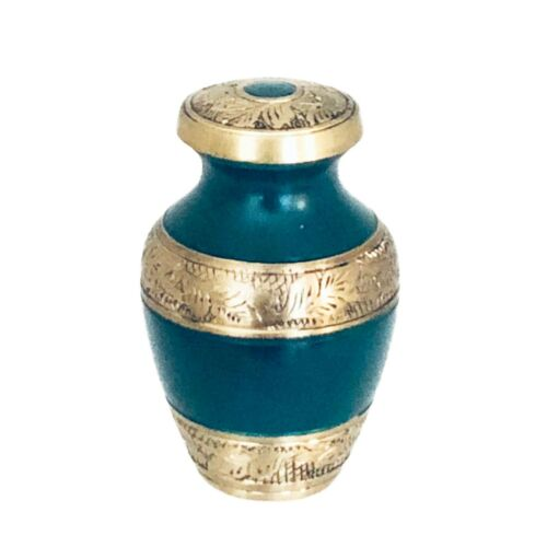 Well Lived™ Green and Brass Small Keepsake Cremation Urn for human ashes