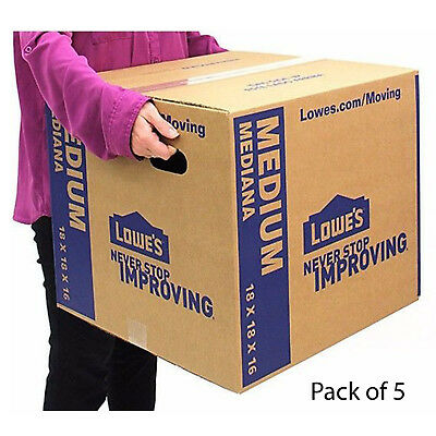 Pack Of 5 Medium Cardboard Boxes 18 X 16 Moving Plain Shipping Packingsupplies