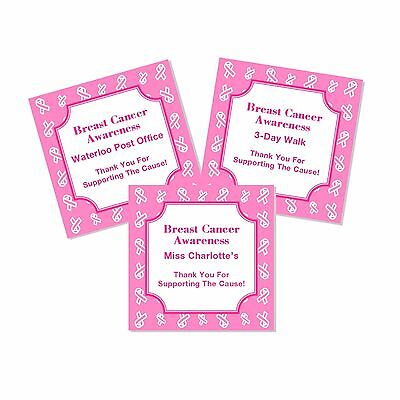 20 Personalized Breast Cancer Awareness Favor Labels Stickers - Breast Cancer Awareness Favors