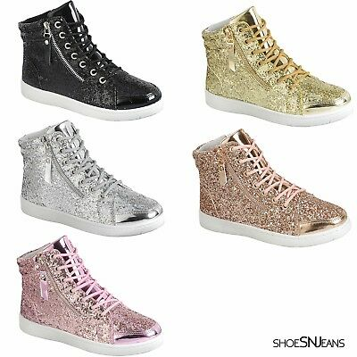 New Women High Top Glitter Sneakers Lightweight Walking Athletic Lace Up Shoes - High Top Sparkle Sneakers