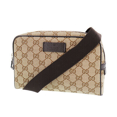 GUCCI Original GG Canvas Fanny Pack Brown Canvas Italy Vintage Authentic #QQ325