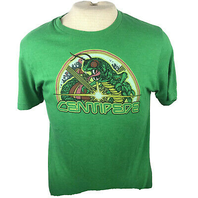 "Homage Centipede Atari Mens Green Short Sleeve Graphic Tee Shirt Medium ""W"""