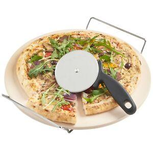 VonShef Ceramic Pizza Baking Stone Set Chrome Stand 33cm + FREE Pizza Cutter
