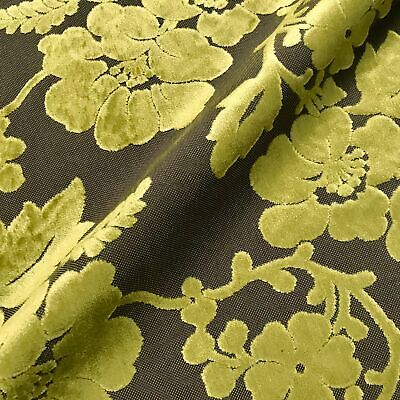 Suffolk Lime Floral Velvet Textured Woven Vintage Upholstery Fabric - 54""