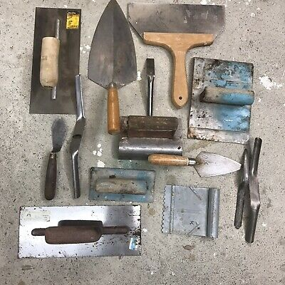 Marshalltown Hyde Concrete Cement Work Tools Used Large Lot Plastering Trowels