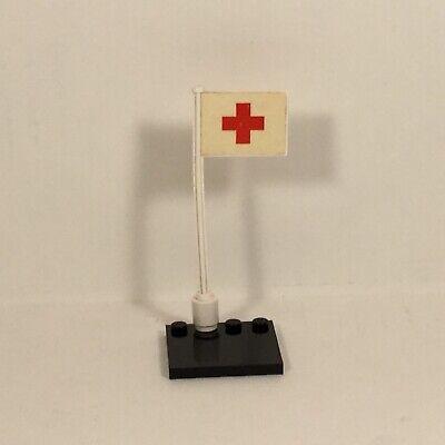Vintage LEGO Red Cross Flag & Pole With Sticker Legoland Hospital 363 & 555