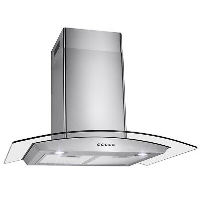 """Stainless Steel 30"""" Glass Wall Mount Range Hood Kitchen Vents Push Control Stove"""