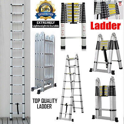 12.5ft 16.5ft Aluminum Telescopic Hatch Attic Stairs Ladder Extension Foldable