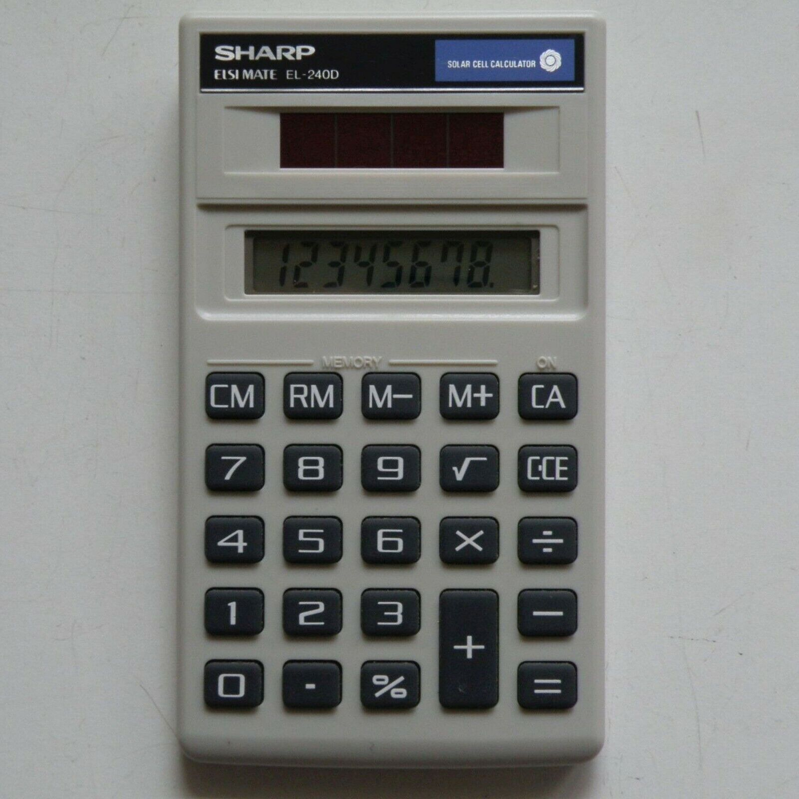 SHARP TAIWAN ELSI MATE EL-240D SOLAR CELL CALCULATOR LCD, NEW-OLD-STOCK, TESTED