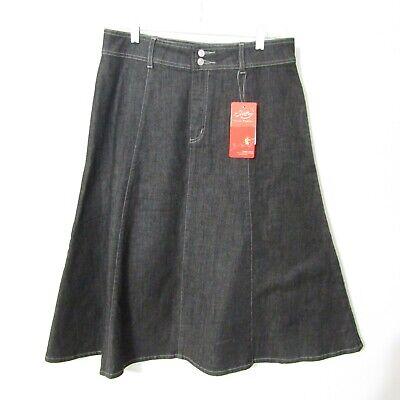 Style J Denim Skirt Size 32 XL Black wash Jean Skirt Long Modest A-line NEW