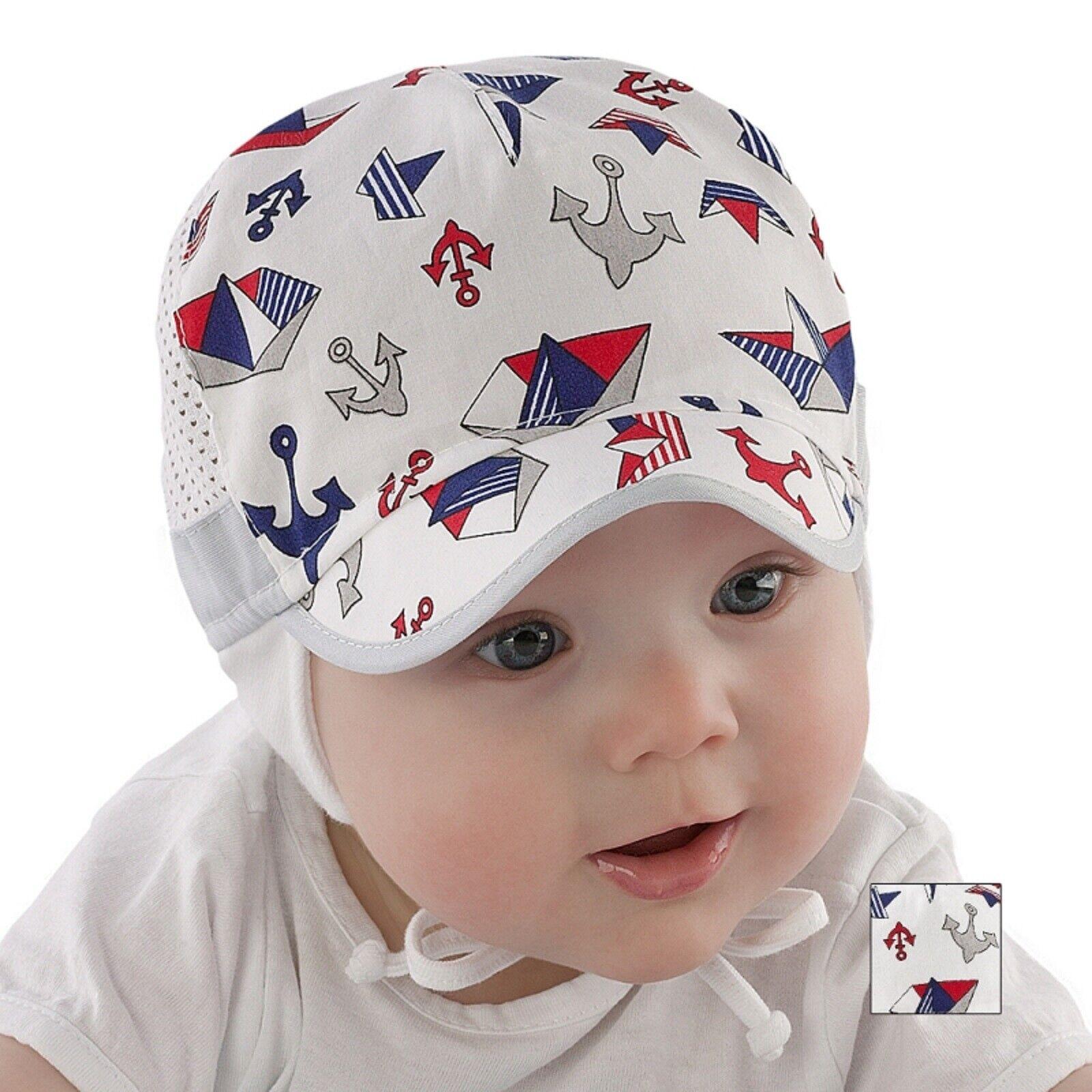 Baby Jungen Sommer Mütze Schirmmütze Taufe Gr. 38-46 Dünnestoff Baumwolle  Neu
