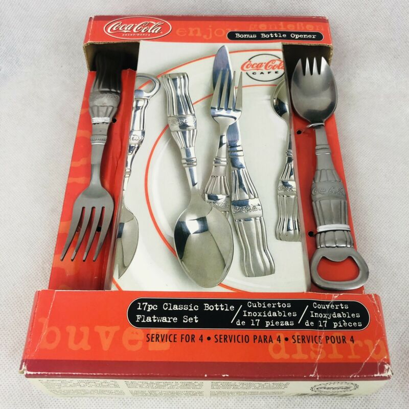 Coca Cola Gibson 17 pc Silverware Flatware Set Service for 4 with Bottle Opener