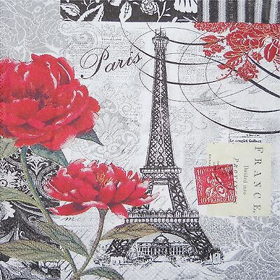 EIFFEL TOWER PARIS B & W WITH RED ROSES  COASTERS SET OF 4 FABRIC TOP / RUBBER   (Paris Coaster)