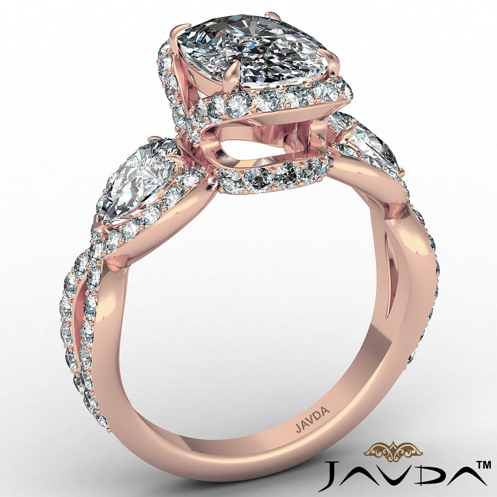 Halo Cushion Diamond Engagement Ring GIA Certified J Color & VS2 clarity 2.4 ctw 5