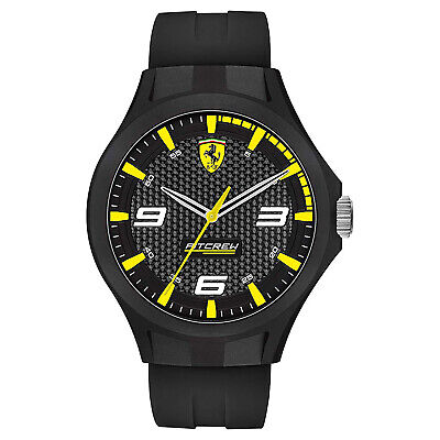 SCUDERIA FERRARI 'PIT CREW' Mens Analog Watch - Black & Yellow - Silicone Band