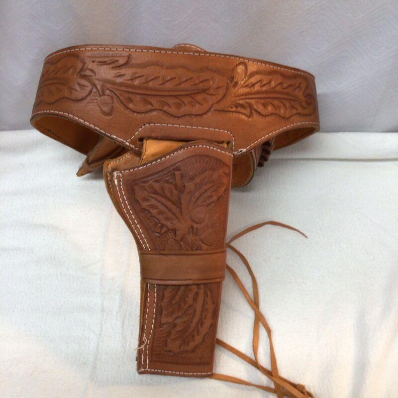 Genuine Leather Embossed Used Holster And Gunbelt