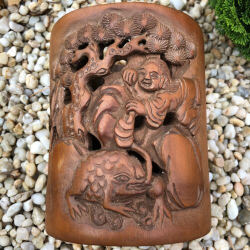 Chinese Bamboo Brush Pot Carved Liu Hai,Toad and Calligraphy Estate Collection