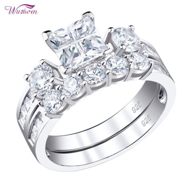 Engagement Wedding Ring Set For Women 2ct Princess 925 Sterling Silver Cz 5-10