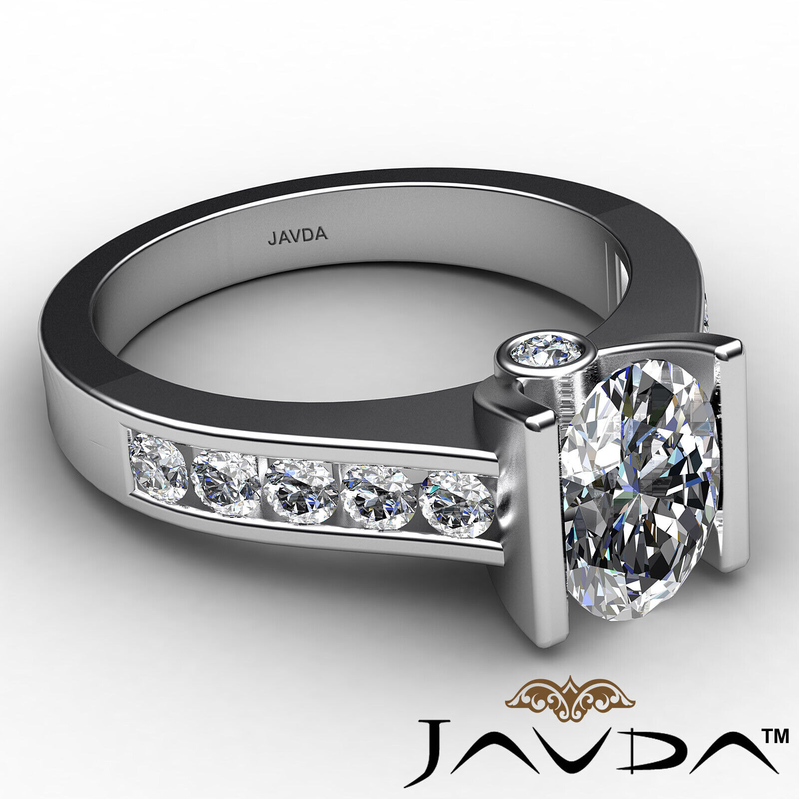 Oval Diamond Engagement Bezel Setting Ring GIA, E Color & SI2 clarity 1.4 ctw. 6