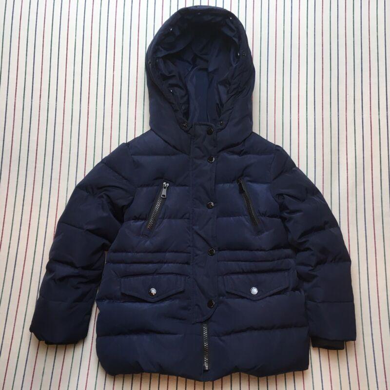 259 Zara Girls BLUE Winter Coat Hooded Puffer Jacket Down Insulated Size 6 116cm